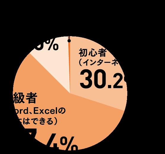 初心者30.2%、初級者57.4%、中級者12%